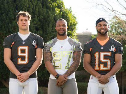 Matthew Stafford, Glover Quin & Golden Tate III - Pro Bowl 2015